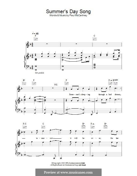 Summer's Day Song: Für Stimme und Klavier (oder Gitarre) by Paul McCartney