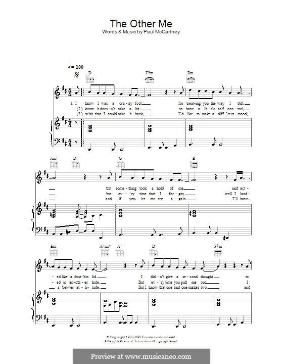 The Other Me: Für Stimme und Klavier (oder Gitarre) by Paul McCartney