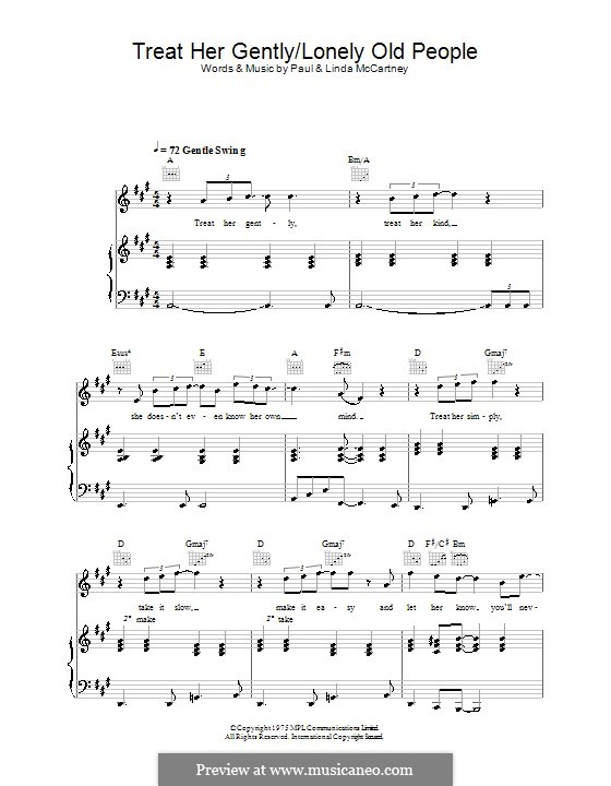 Treat Her Gently / Lonely Old People: Für Stimme und Klavier (oder Gitarre) by Linda McCartney, Paul McCartney