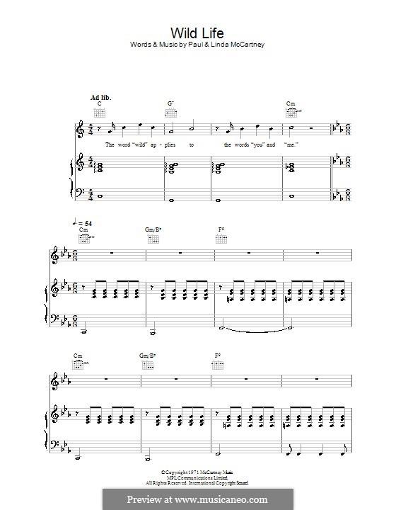 Wild Life (Wings): Für Stimme und Klavier (oder Gitarre) by Linda McCartney, Paul McCartney