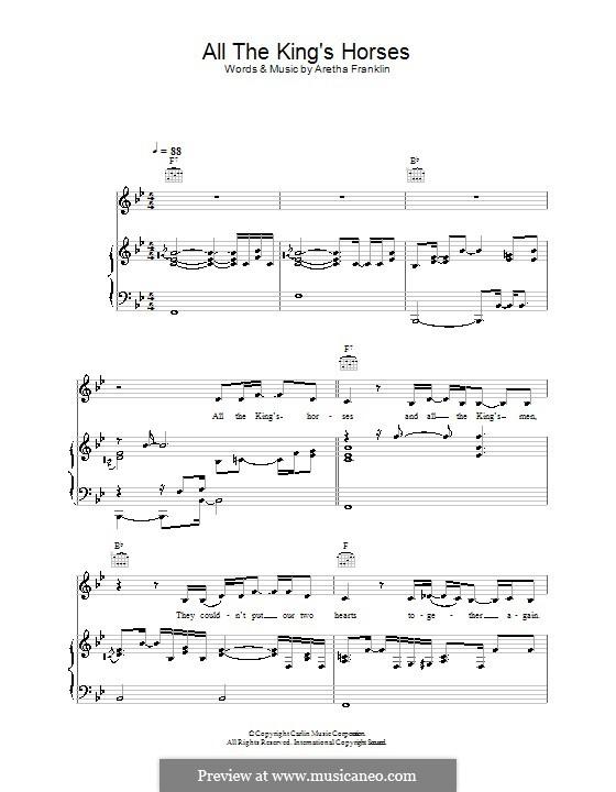 All the King's Horses (Joss Stone): Für Stimme und Klavier (oder Gitarre) by Aretha Franklin