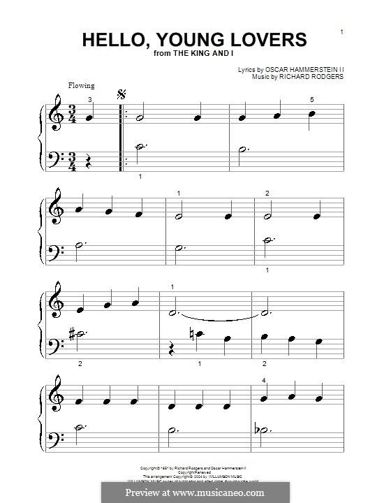 Hello, Young Lovers: Für Klavier (sehr leichte Fassung) by Richard Rodgers