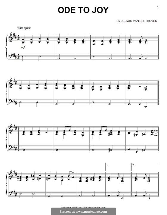 Ode an die Freude, für Klavier: Für einen Interpreten by Ludwig van Beethoven