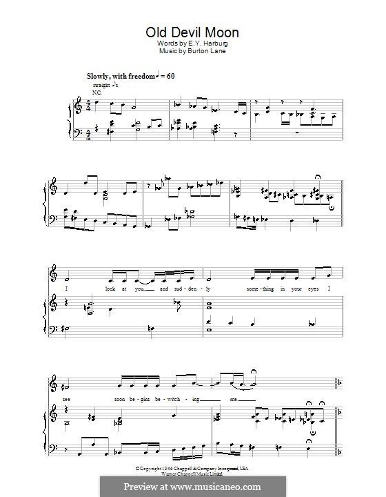 Old Devil Moon: Für Stimme mit Klavier oder Gitarre (Jamie Cullum) by Burton Lane