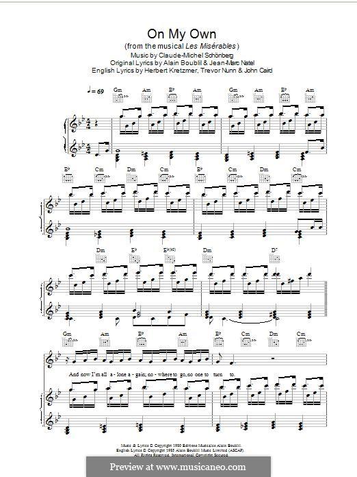 On My Own: Für Stimme und Klavier (oder Gitarre) by Claude-Michel Schönberg