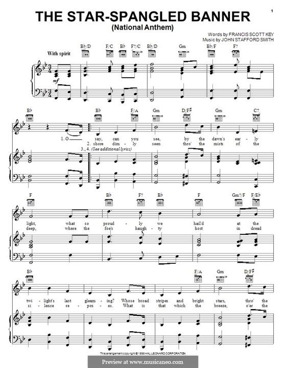 The Star Spangled Banner (National Anthem of The United States). Printable Scores: Für Stimme und Klavier oder Gitarre (B-Dur) by John Stafford Smith