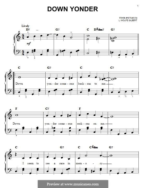 Down Yonder: Einfache Noten für Klavier by L. Wolfe Gilbert