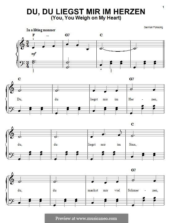 Du, du liegst mir im Herzen: Für Klavier by folklore
