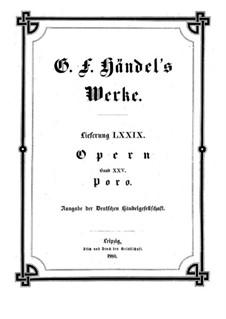 Porus, King of the Indians, HWV 28: Vollpartitur by Georg Friedrich Händel
