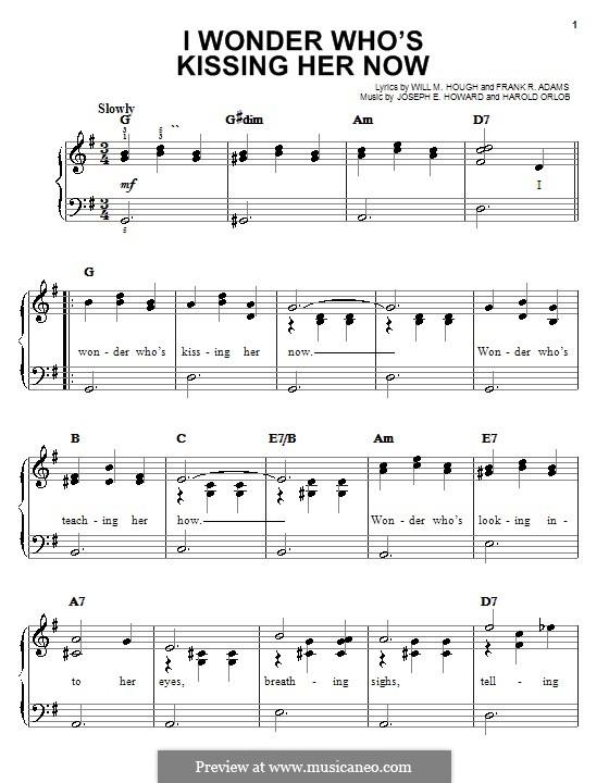 I Wonder Who's Kissing Her Now: Für Klavier, leicht by Joseph Edgar Howard
