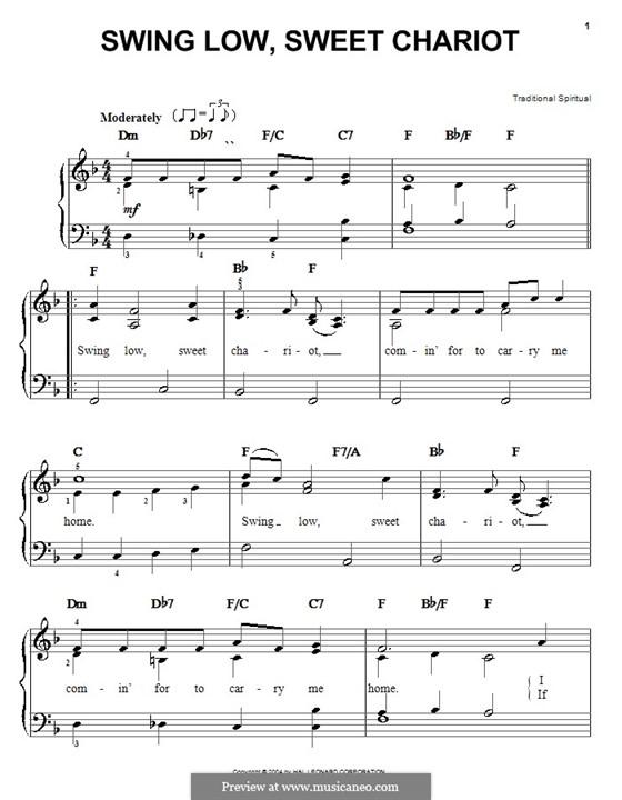 Swing Low, Sweet Chariot: Für Klavier, leicht by folklore