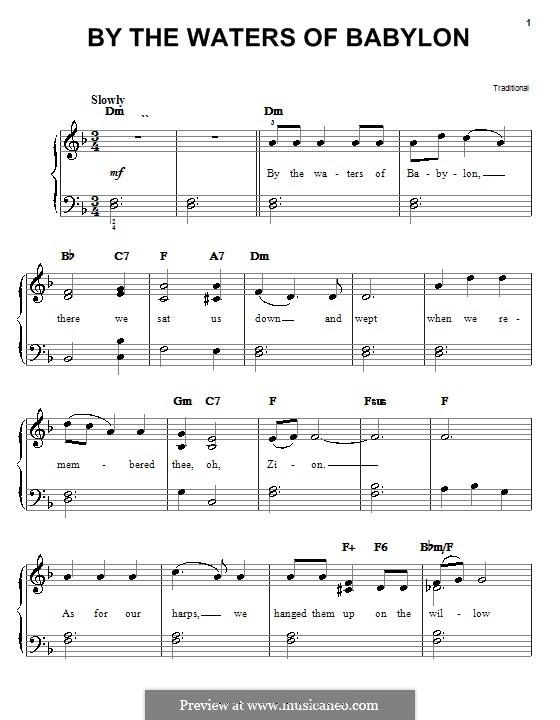 By the Waters of Babylon: Für Klavier, leicht by folklore