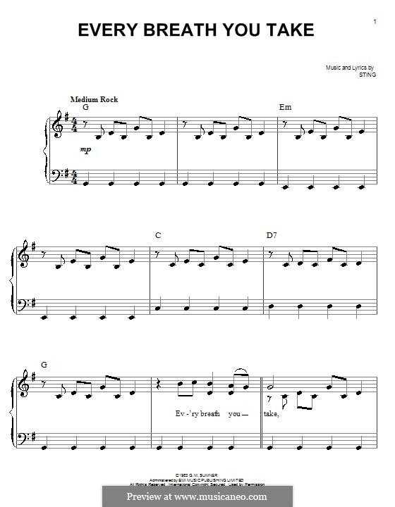 Every Breath You Take (The Police): Für Klavier, leicht by Sting