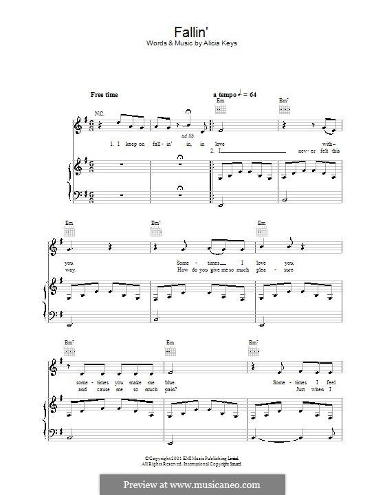 Fallin': Für Stimme und Klavier (oder Gitarre) by Alicia Keys