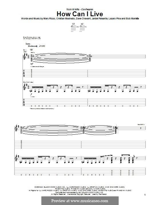 How Can I Live (Ill Nino): Für Gitarre mit Tabulatur by Cristian Machado, Dave Chavarri, Marc Rizzo