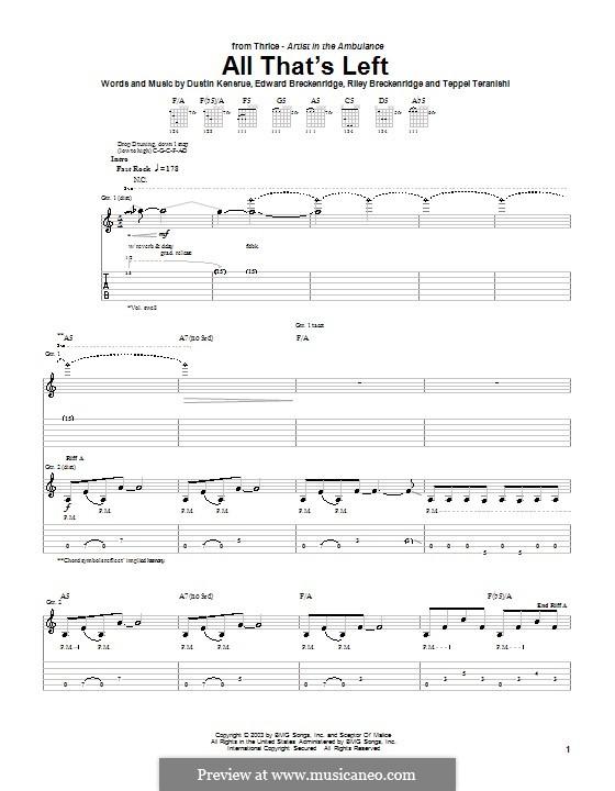 All That's Left (Thrice): Für Gitarre mit Tabulatur by Dustin Kensrue, Edward Breckenridge, Riley Breckenridge