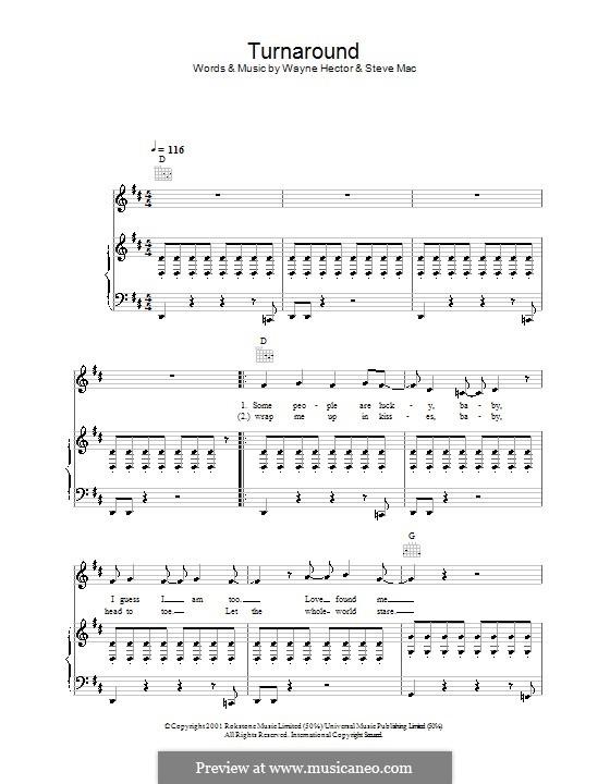 Turnaround (Westlife): Für Stimme und Klavier (oder Gitarre) by Steve Mac, Wayne Anthony Hector