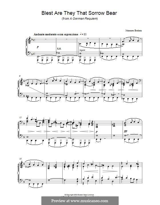 Ein deutsches Requiem, Op.45: Teil I, für Klavier by Johannes Brahms