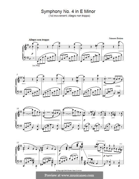 Teil I: Version für Klavier by Johannes Brahms