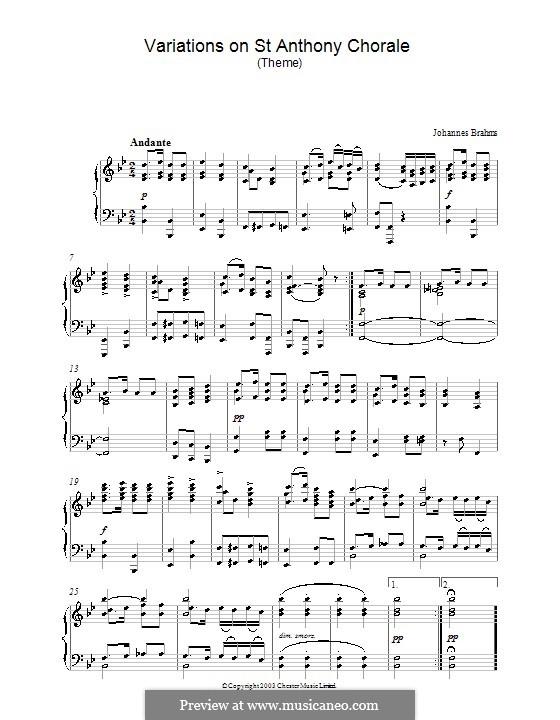 Variationen über ein Thema von Haydn, Op.56a: Theme. Version for piano by Johannes Brahms