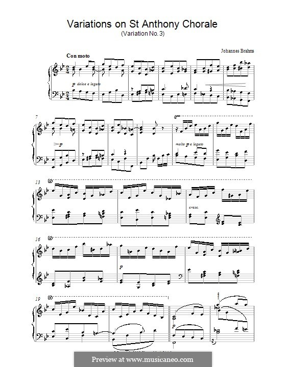 Variationen über ein Thema von Haydn, Op.56a: Variation Nr.3. Version für Klavier by Johannes Brahms