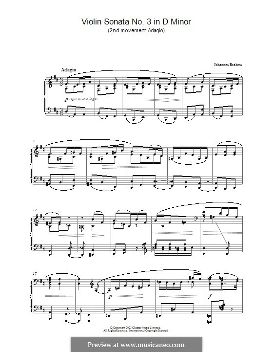 Sonate für Violine und Klavier Nr.3 in d-Moll, Op.108: Teil II. Version für Klavier by Johannes Brahms