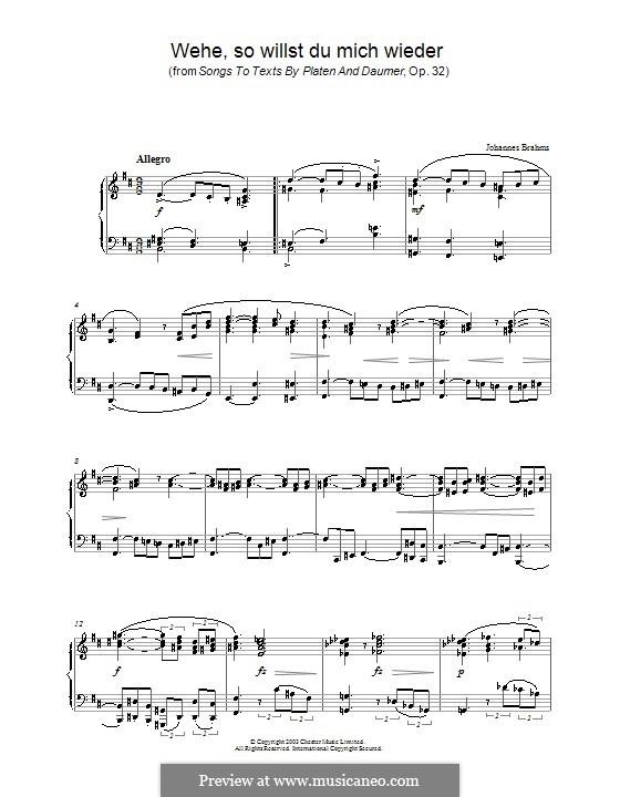 Neun Lieder, Op.32: Nr.5 Wehe, so willst du mich wieder, für Klavier by Johannes Brahms