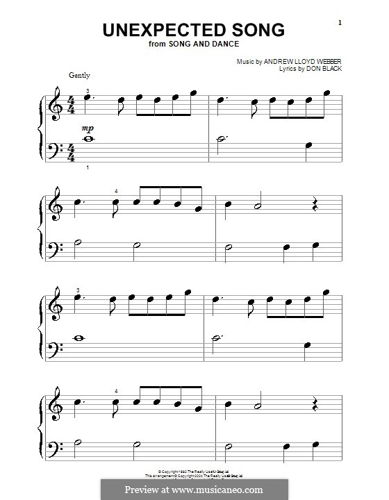 Unexpected Song: Für Klavier (sehr leichte Fassung) by Andrew Lloyd Webber
