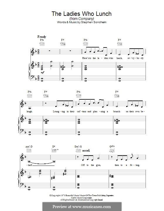 The Ladies Who Lunch (from Company): Für Stimme und Klavier (oder Gitarre) by Stephen Sondheim