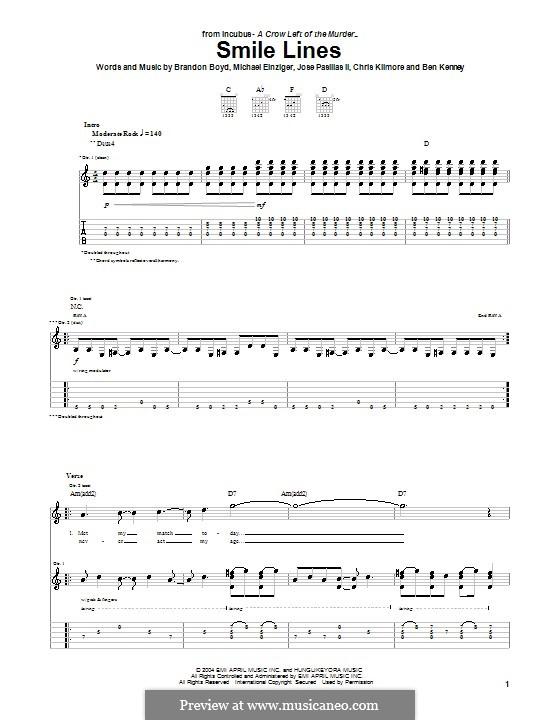 Smile Lines (Incubus): Für Gitarre mit Tabulatur by Brandon Boyd, Jose Pasillas II, Michael Einziger