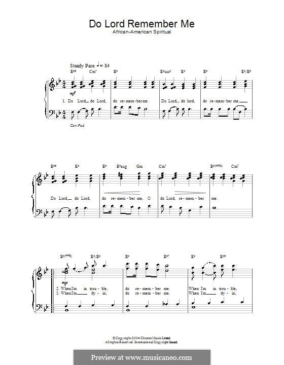 Do Lord Remember Me: Für Stimme und Klavier by folklore