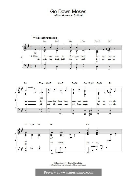 Go Down Moses: Für Stimme und Klavier by folklore