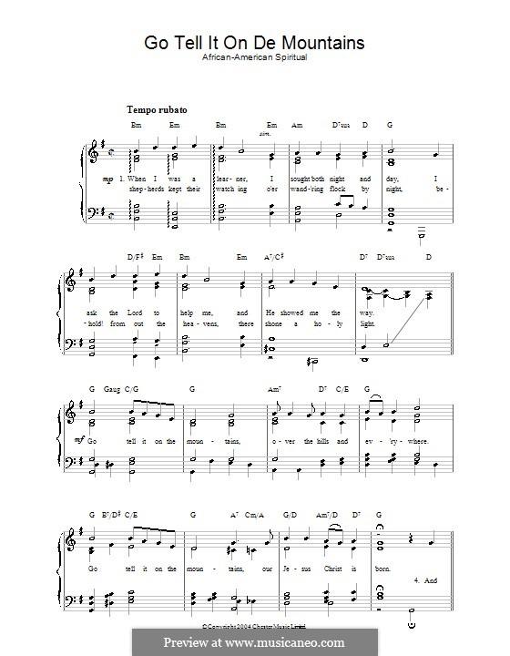 Go, Tell it on the Mountain (Printable Scores): Für Stimme und Klavier by folklore
