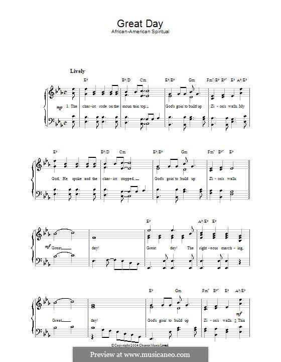 Great Day: Für Stimme und Klavier by folklore