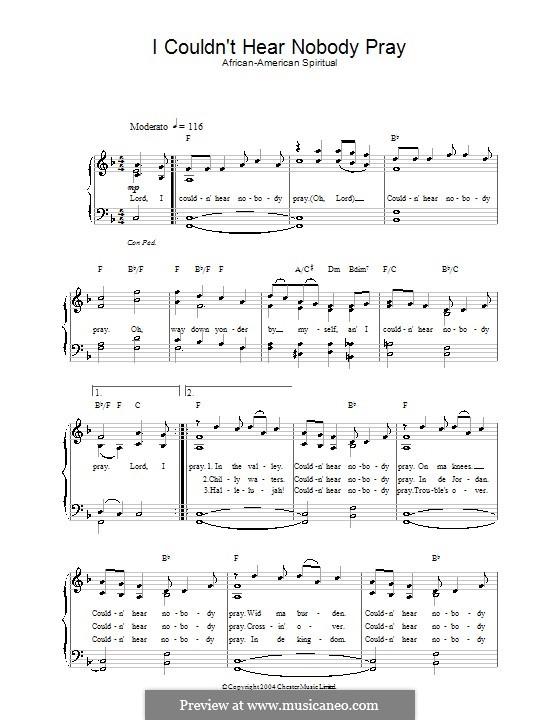 I Couldn't Hear Nobody Pray: Für Stimme und Klavier by folklore