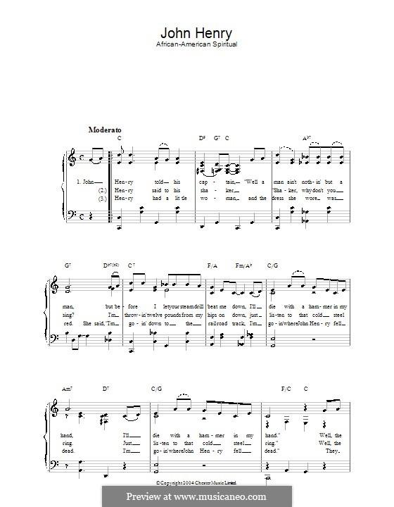 John Henry: Für Stimme und Klavier by folklore