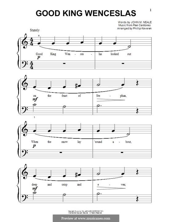 Good King Wenceslas: Für Klavier (sehr leichte Fassung) by folklore
