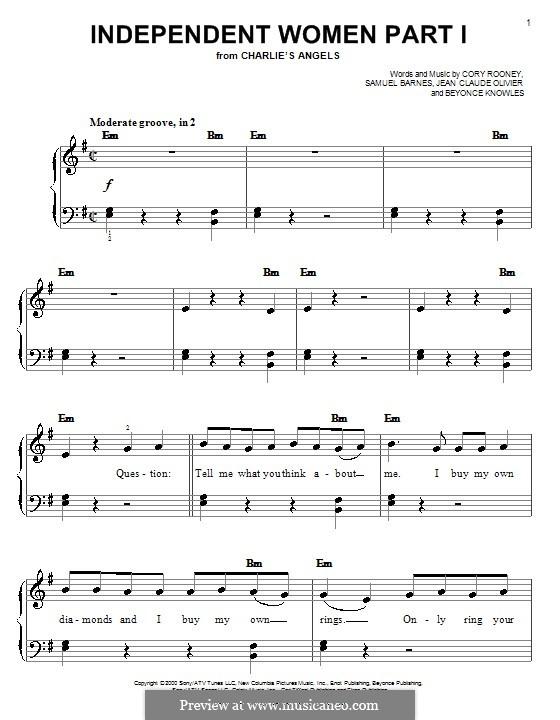 Independent Women Part I (Destiny's Child): Für Klavier, leicht by Beyoncé, Cory Rooney, Jean Claude Olivier, Samuel Barnes