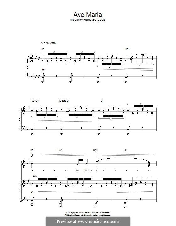Ave Maria (Printable Scores), D.839 Op.52 No.6: Für Stimme und Klavier (oder Gitarre) by Franz Schubert