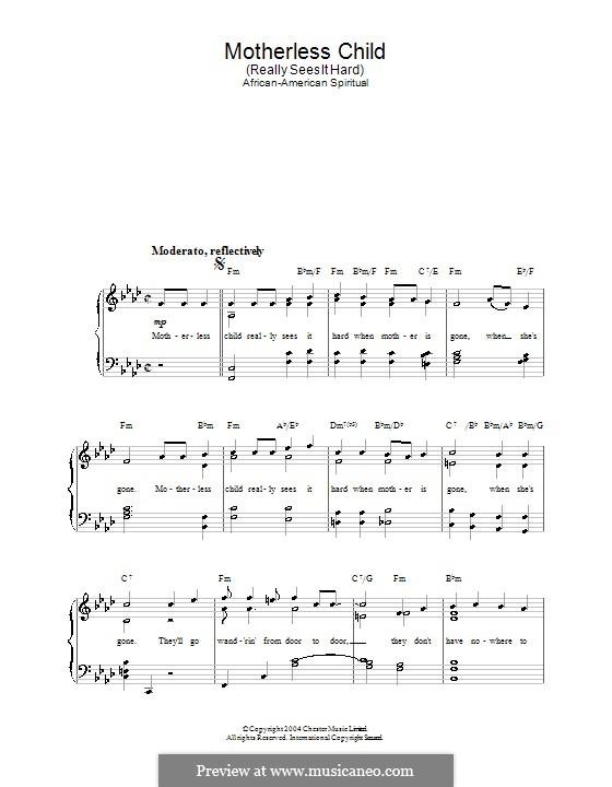 Motherless Children: Für Stimme und Klavier by folklore