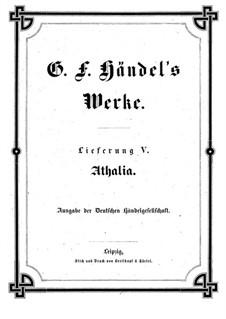Athalia, HWV 52: Vollpartitur by Georg Friedrich Händel