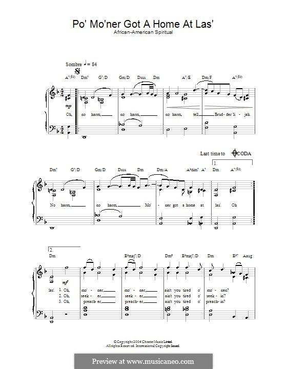 Po' Mo'ner Got a Home at Las': Für Stimme und Klavier by folklore