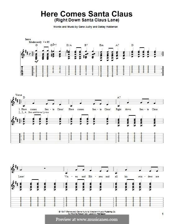 Here Comes Santa Claus (Right Down Santa Claus Lane): Für Gitarre mit Tabulatur (Carpenters) by Gene Autry, Oakley Haldeman