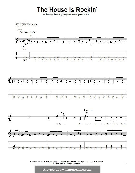 The House Is Rockin' (Stevie Ray Vaughan): Für Gitarre mit Tabulatur by Doyle Bramhall