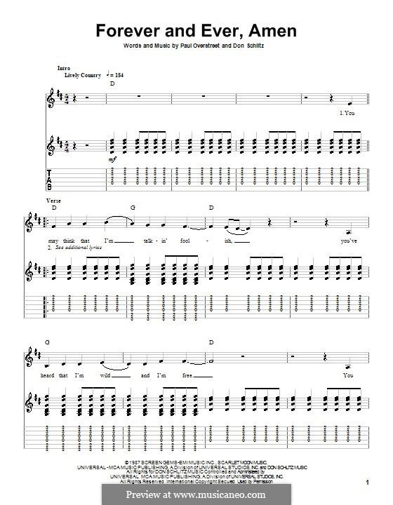 Forever and Ever, Amen (Randy Travis): Für Gitarre mit Tabulatur by Don Schlitz, Paul Overstreet