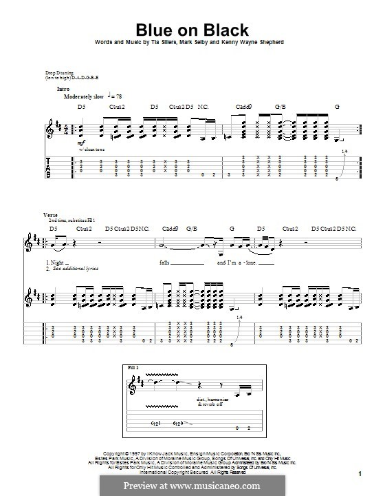 Blue on Black: Für Gitarre mit Tab by Mark Selby, Tia Sillers
