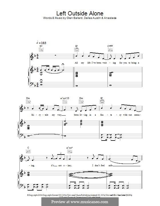 Left Outside Alone (Anastacia): Für Stimme und Klavier (oder Gitarre) by Dallas Austin, Glen Ballard