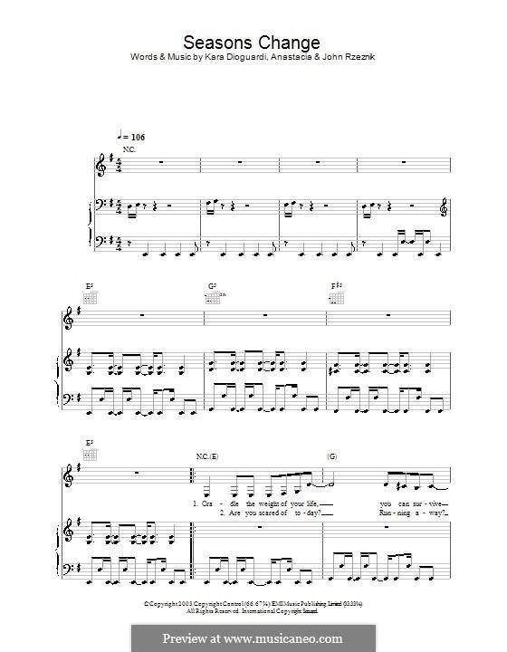 Seasons Change (Anastacia): Für Stimme und Klavier (oder Gitarre) by John Rzeznik, Kara DioGuardi
