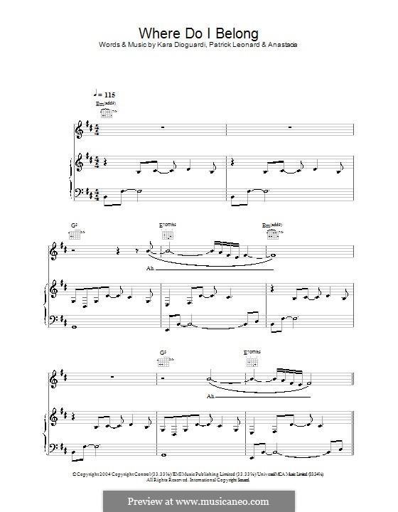 Where Do I Belong (Anastacia): Für Stimme und Klavier (oder Gitarre) by Kara DioGuardi, Patrick Leonard