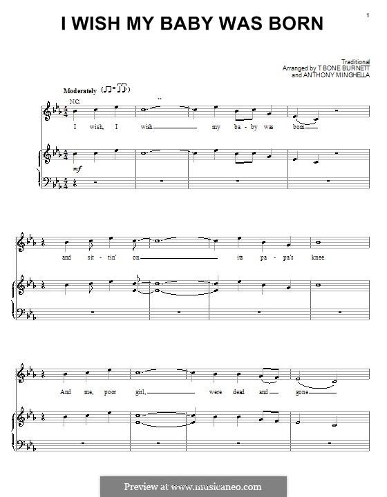 I Wish My Baby Was Born: Für Stimme und Klavier (oder Gitarre) by Anthony Minghella